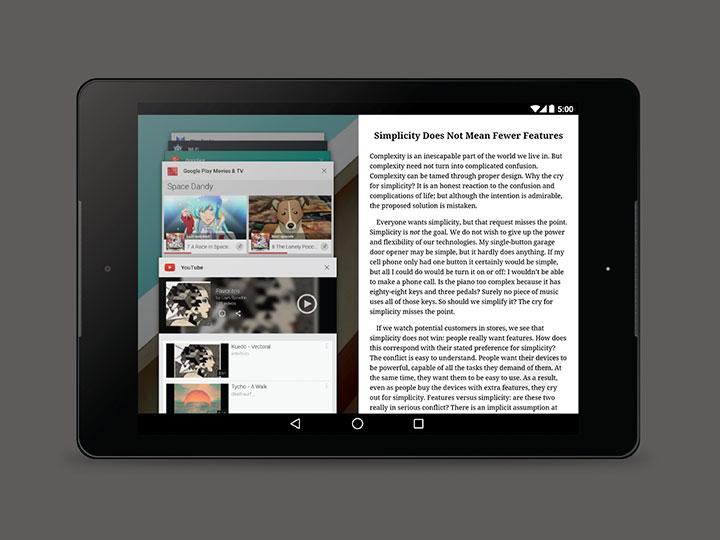 Google está trabalhando em multi windows para tablets!
